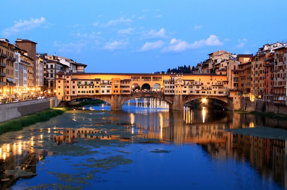 Ponte Vecchio in the late summer evening. Photo by Flickr user  Chuyan Yu