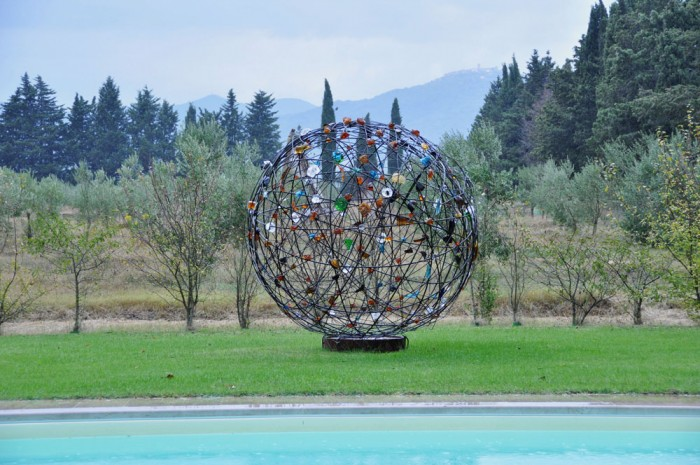 Sphere of glass and metal in Rodolfo's garden (overlooking his swimming pool)
