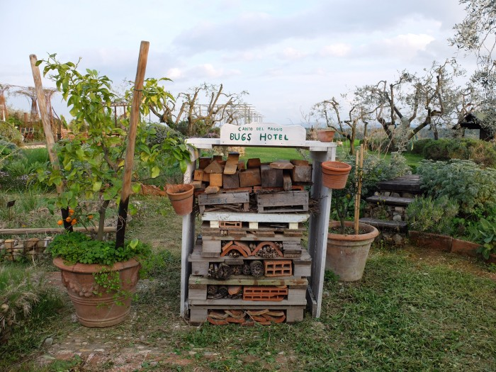 """Bugs hotel"" in the garden of Canto del Maggio"