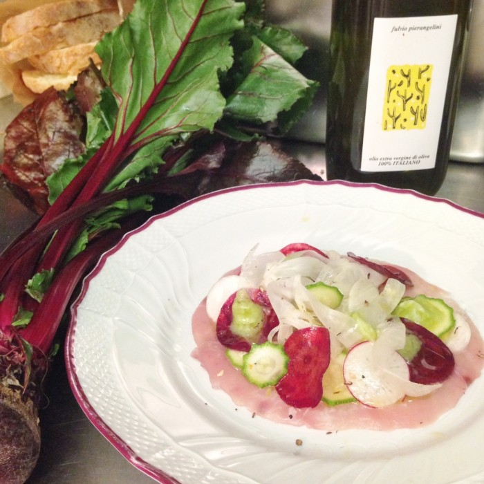 Carpaccio and finely sliced beets