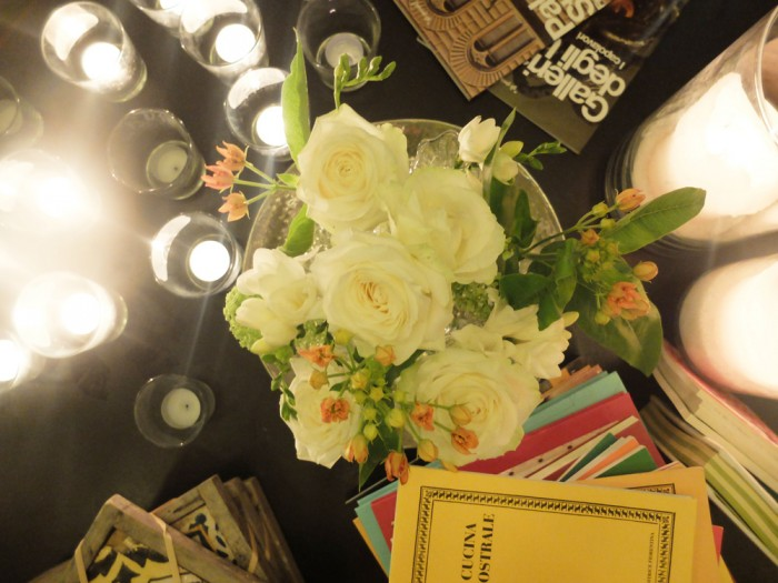 Flowers and Tuscan cookbooks