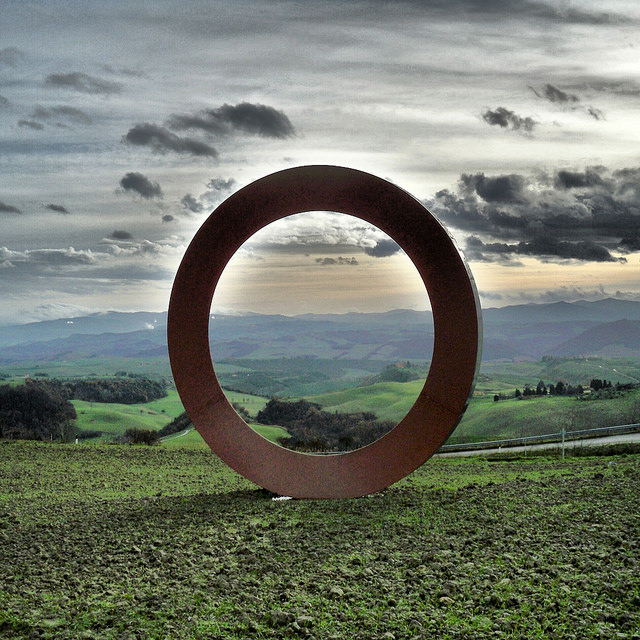 Mauro Staccioli, sculpture near Volterra. Photo flickr user @ Diana Skok Corridori