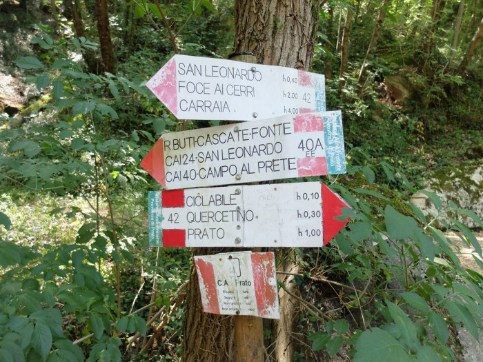 Rio Buti marked hiking path near Prato