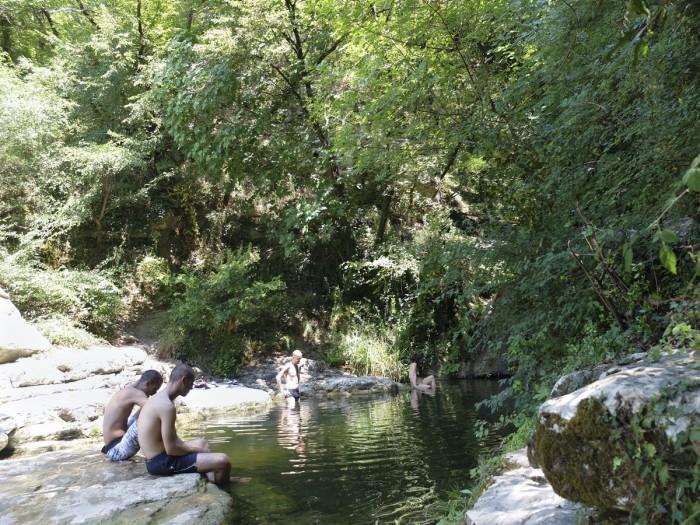 Enjoying cold water