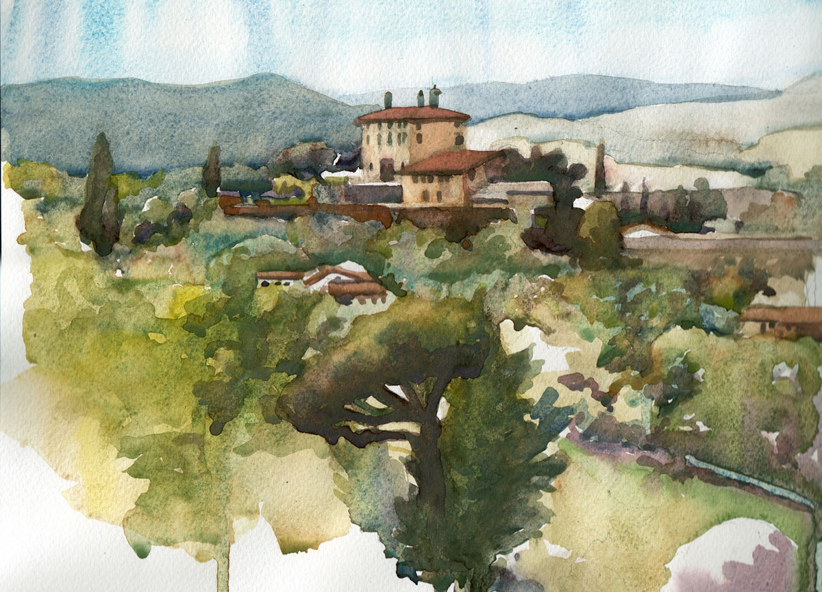 Painted beside San Miniato Al Monte, looking out over the hills of Tuscany. Watercolour on paper. 30x40cm