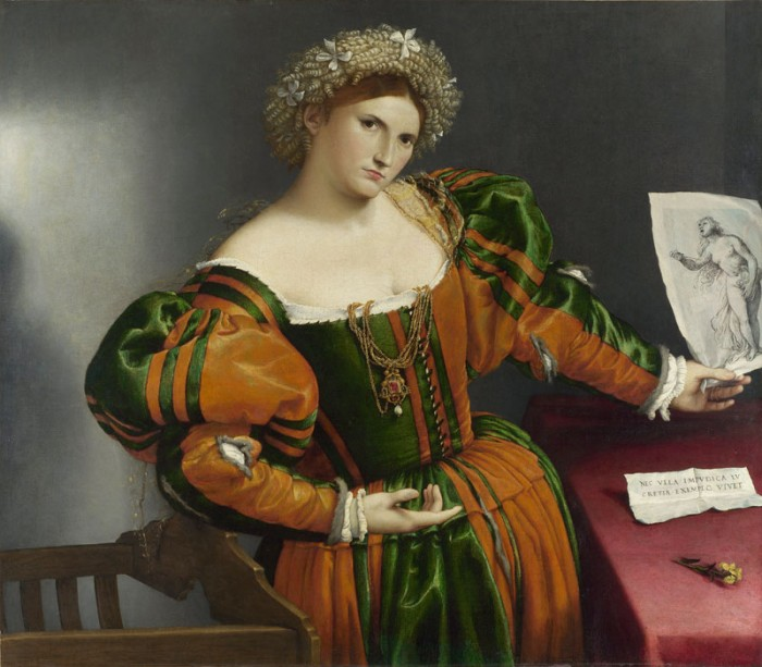 Lorenzo Lotto, Portrait of a woman with drawing of lucrezia (1530-2)