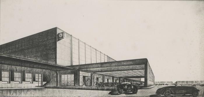 Gruppo Toscano, Fabbricato viaggiatori della stazione Firenze Santa Maria Novella, progetto di concorso, veduta prospettica, 1933 (Foto Barsotti, Archivio Fondazione Michelucci)