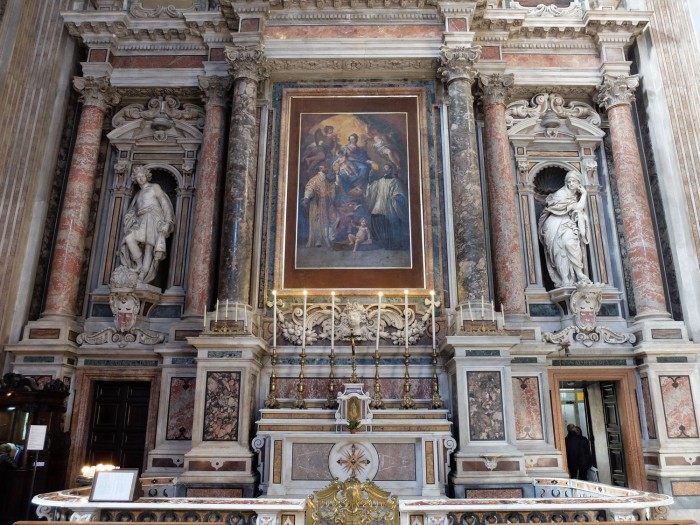 Fanzango did the figure on the right of this altarpiece in the Church of Gesu Nuovo