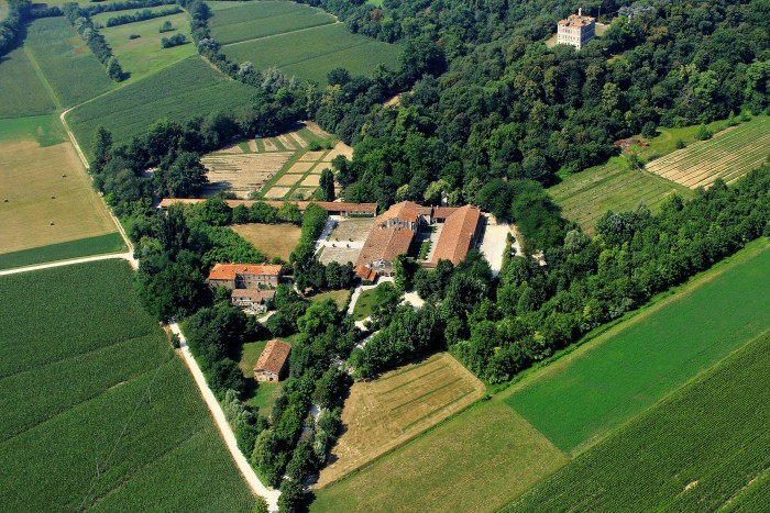 A Veneto Villa's property from above shows the villa as well as working farm areas