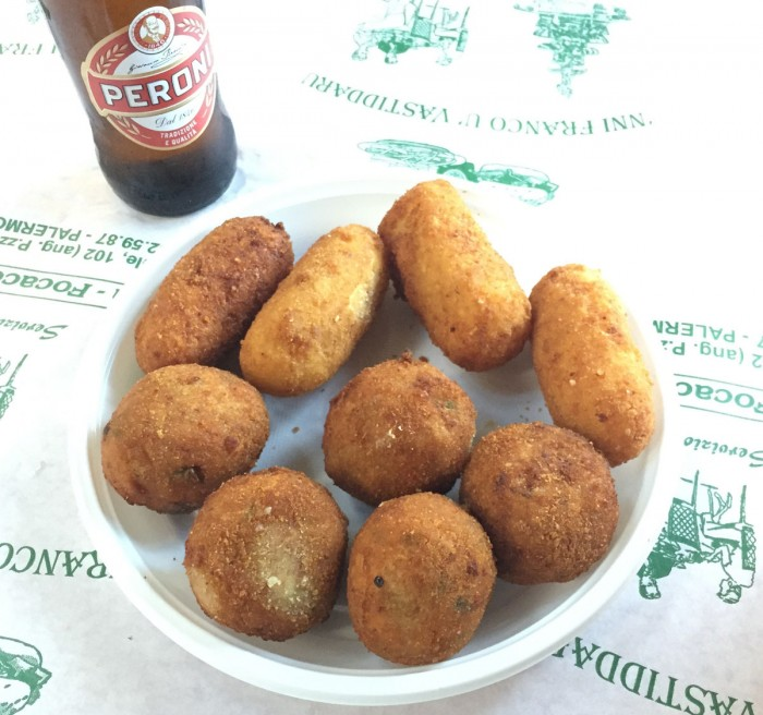 "A plate of Arancina ""pair well"" with beer"