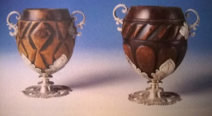 A 17th century Mexican hot chocolate cup made of coconuts with silver detailing, Pitti Palace Museo degli Argenti