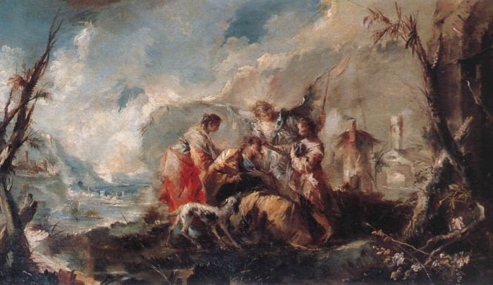 Tobias and the Angel (1753) by Gian Antonio Guardi (The Healing of Tobias's Father)   Image wga.hu