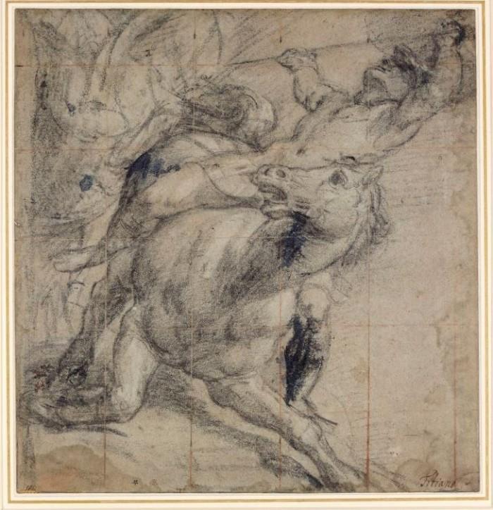 Tiziano Vecellio (Pieve di Cadore, ca. 1485/90 - Venezia, 1576), Un cavaliere e cavallo in atto di cadere, Oxford, Ashmolean Museum.