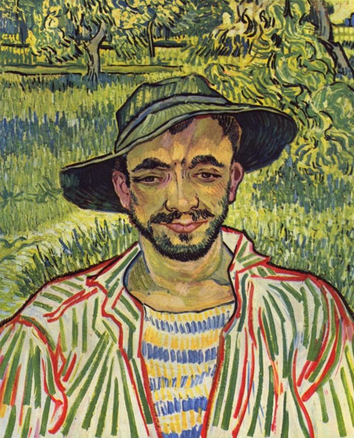 Vincent Van Gogh, Testa di contadino (Il giardiniere), 1889, olio su tela, cm. 61x50, Roma, Galleria Nazionale d'Arte Moderna e Contemporanea, inv. 8638