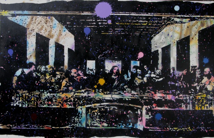 Farhan Siki, Dirty last supper, 130 x 200cm, spray paint on canvas, 2015 Farhan Siki & Banca Generali