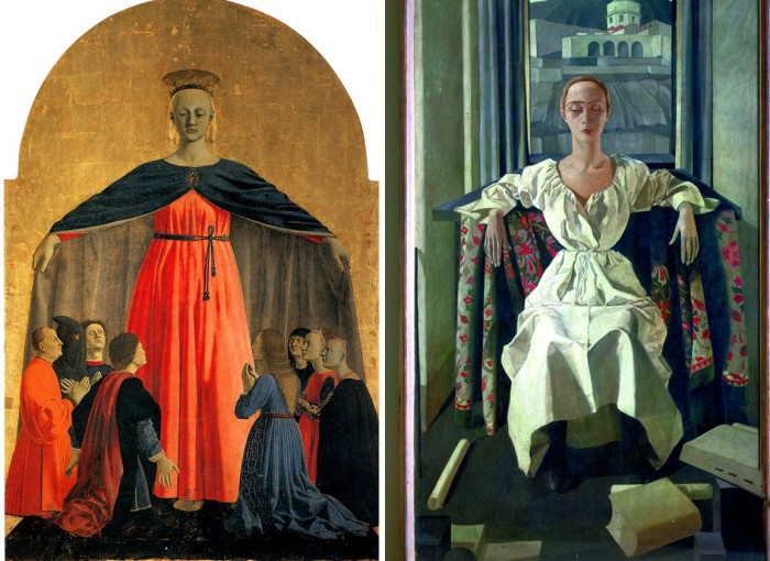 Felice Casorati, Silvana Cenni, 1922 compared to Piero's Misericordia Madonna