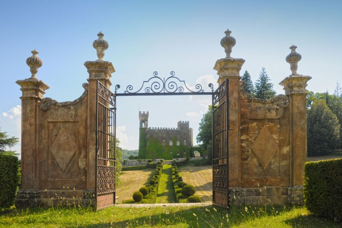 The majestic entrance of Castello di Celsa