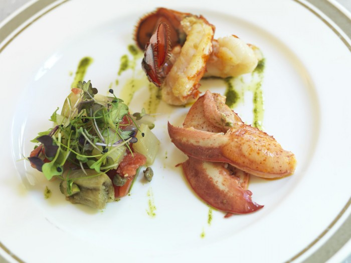 At the Jardin du Russie: Lobster with Eggplant Caponata