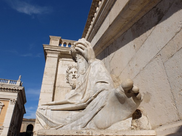 The statue of the Tiber at the foot of the Palazzo Senatorio