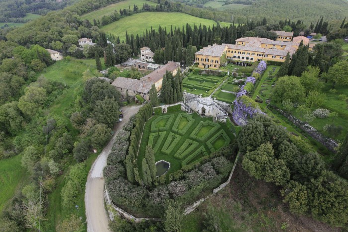 View of La Foce garden from above