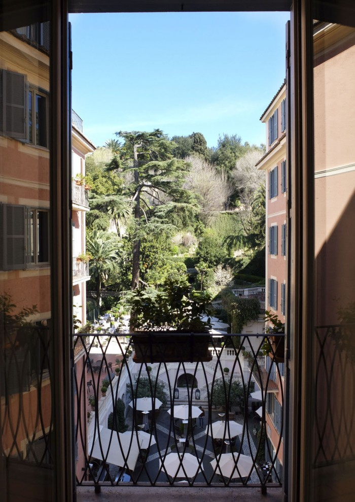 View over the Hotel de Russie courtyard and garden