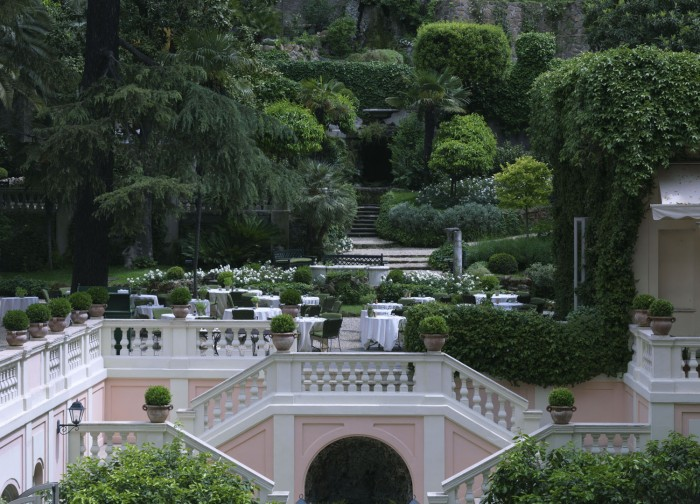 "The ""secret garden"" at the Hotel del Russie is an oasis of green in the city center"