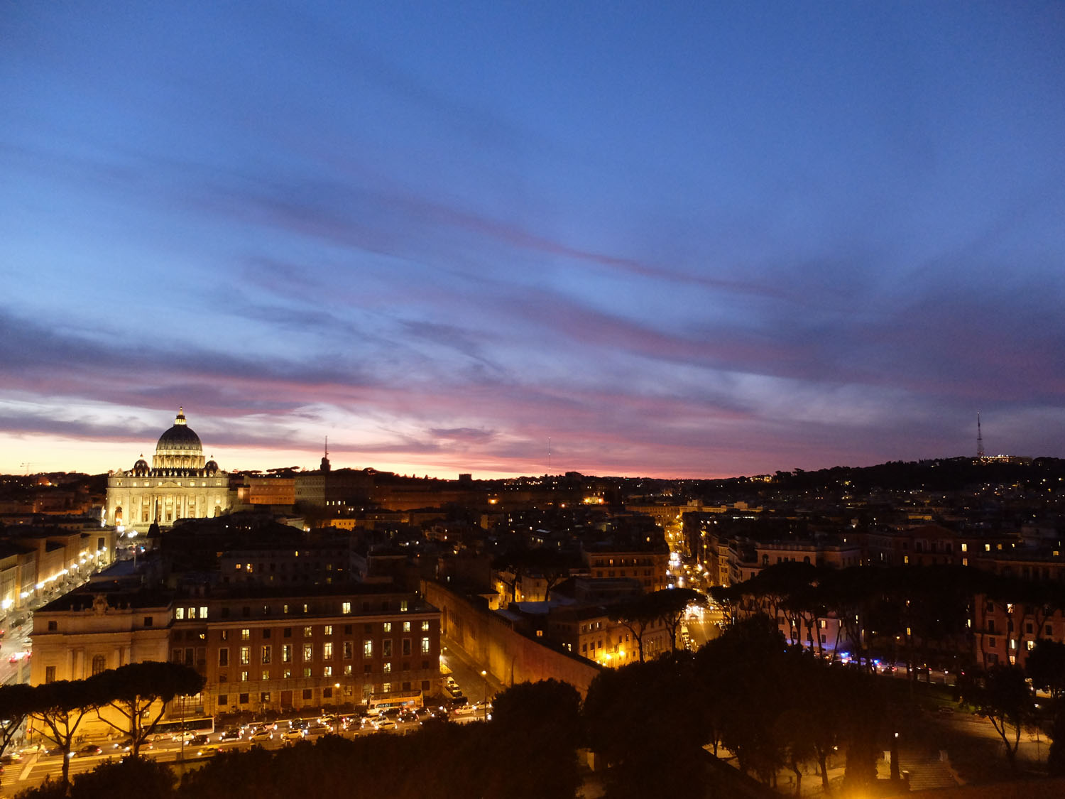 Rome seen from Castel Sant'Angelo at sunset