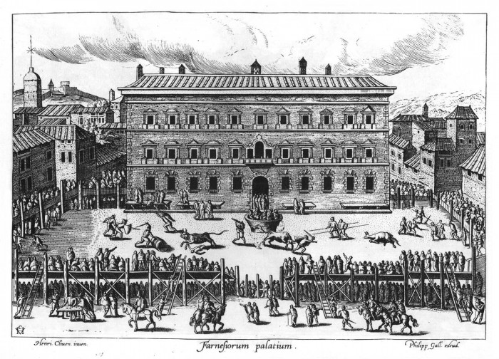 Bull fight in piazza farnese