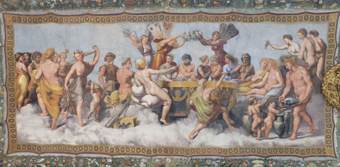 "A ""party scene"" in Villa Farnesina (the wedding feast of Cupid and Psyche designed by Raphael)"