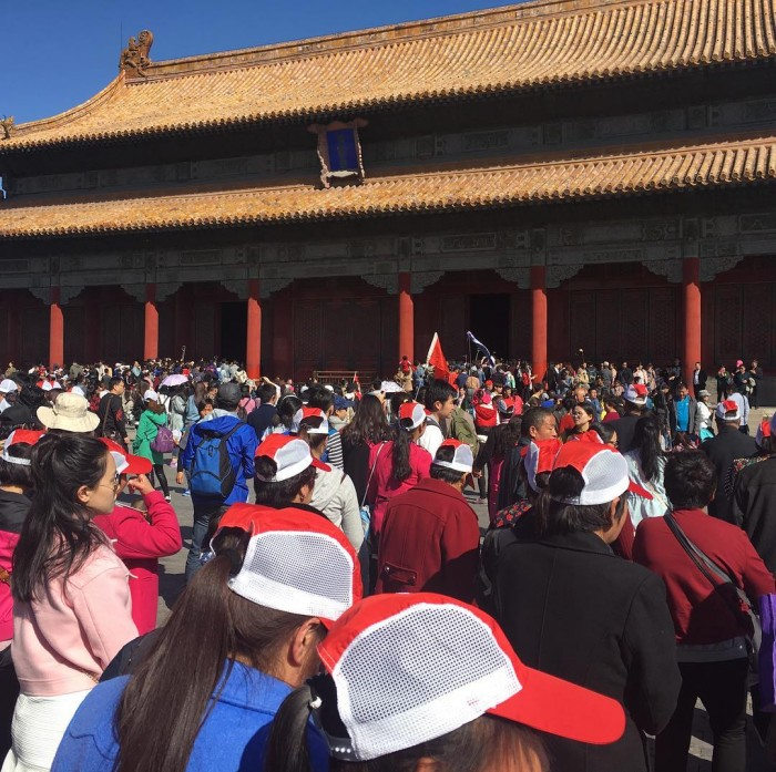Leading a walk at the Forbidden City on a holiday Sunday (to be avoided) ! Photo Jeremaiah
