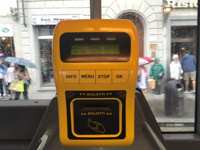 The new bus ticket validation machine at the front of the bus