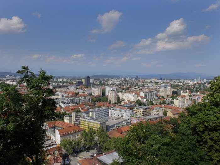 Ljubljana seen from the castle above the city