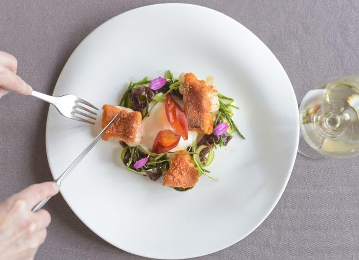 Andrea Campani: Rockfish with tomato, asparagus, seaweeds and lemon mayonnaise