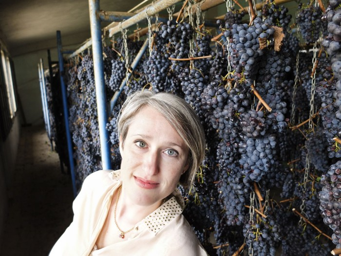 Me, getting excited about the grapes hanging to dry in a Vinsantaia (at Il Borro, Valdarno, Tuscany)