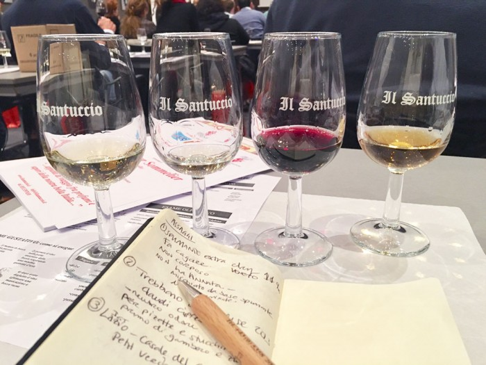 Mostly full glasses and critical notes at the first night of my sommelier training