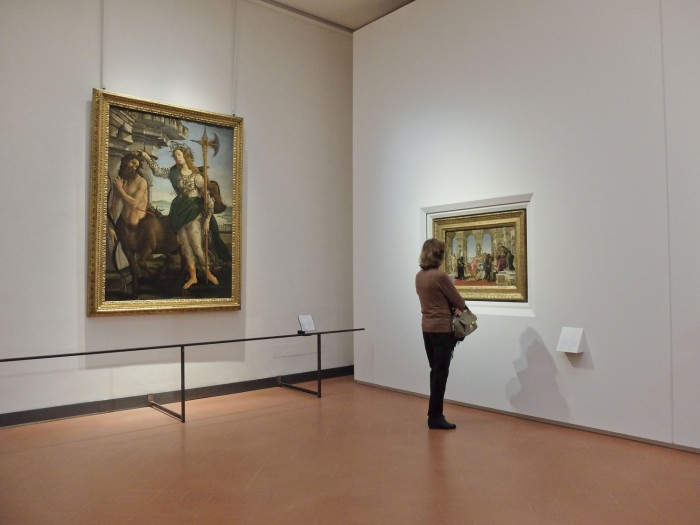 An uncrowded Botticcelli room at the Uffizi in low season