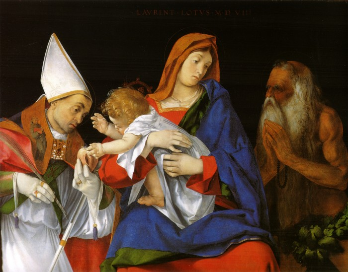 I find this Madonna and saints by Lorenzo Lotto to be one of the most arresting paintings in the room but I can hardly describe why!
