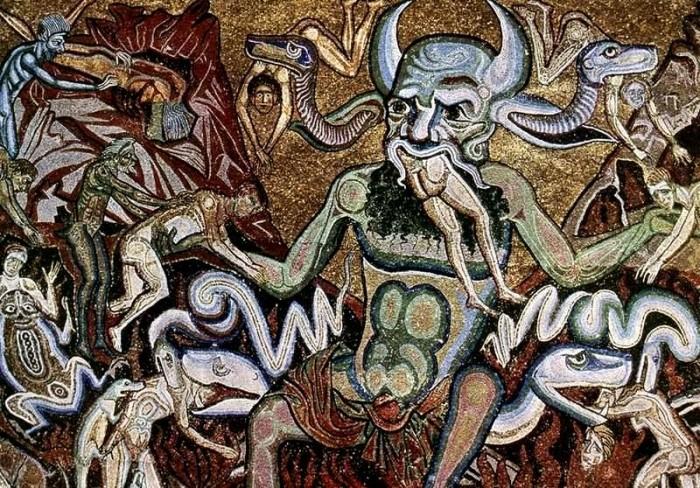 Satan devouring sinners in the Universal Judgement. Attributed to Coppo di Marcovaldo. Baptistry of San Giovanni. Photo: wikipedia, public domain