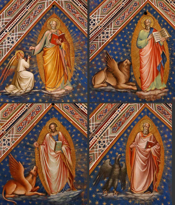 Spinello Aretino, the Four Evangelists with their Symbols. Sacristy of San Miniato al Monte, 1387-88. Photo: Rufus46 (CC-BY-SA 3.0), details adapted by author.