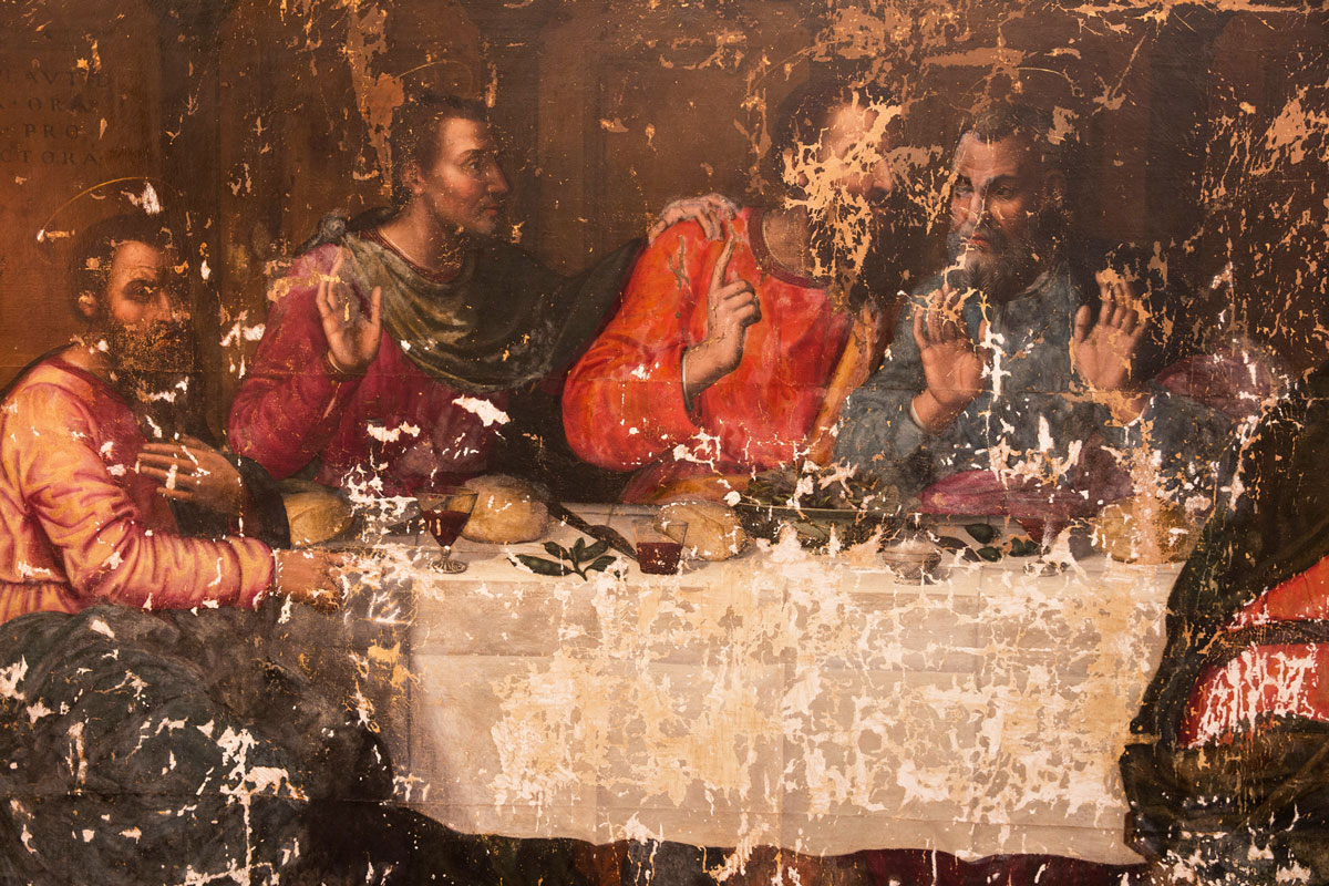 Plautilla Nelli, Last Supper, detail of left side of canvas under restoration