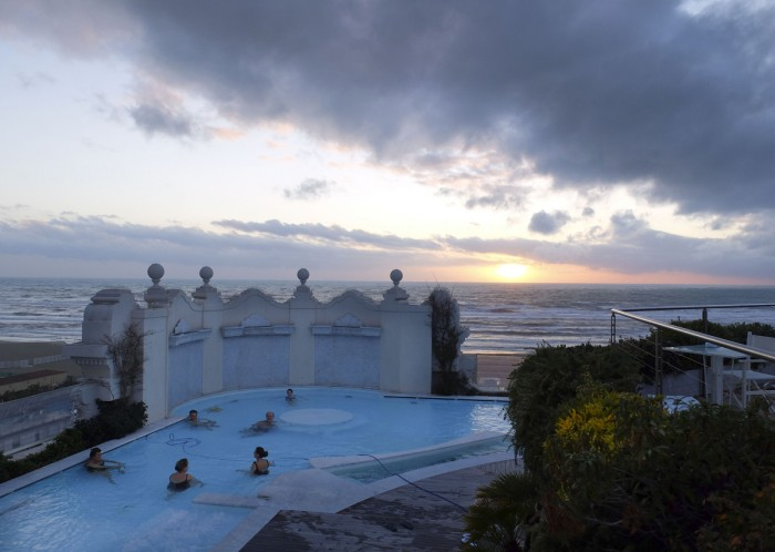 The rooftop pool is heated salt water with a view... of much colder salt water.