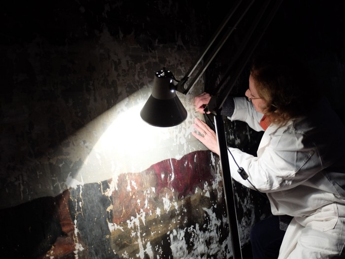 A photo I took of Rossella Lari, the restorer, working in raking light. She's put stucco on where paint is missing. She will in-paint with neutral patches of watercolour.