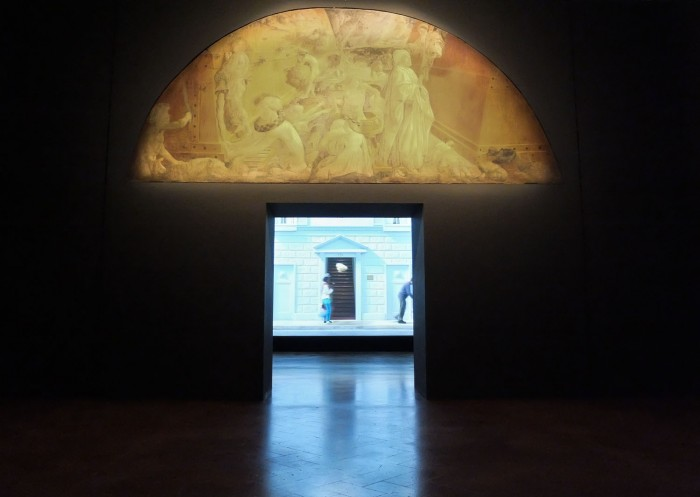 Exhibition display of Paolo Uccello's Deluge (SMN) with Bill Viola's The Deluge (Going Forth By Day) 2002 at Palazzo Strozzi, Florence.