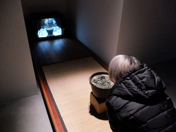 Perhaps the most interesting early work on display at the Strozzina is the interactive Eclipse/Vapor which projects the viewer on the screen as she inhales the Eucalyptus vapor on the mat.