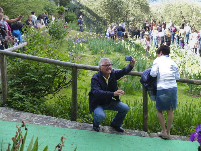 This guy was not the only person trying to take a selfie in the iris garden.