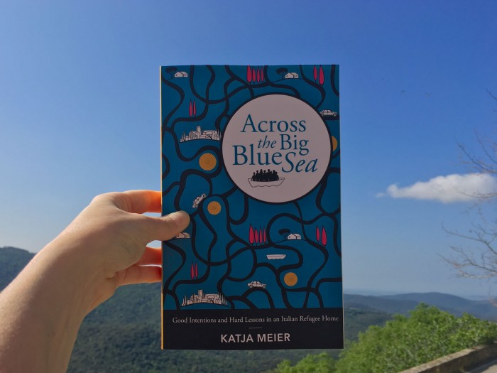 """The book, in Maremma (where it takes place). If you look closely you can see the """"Big Blue Sea"""" in the background."""