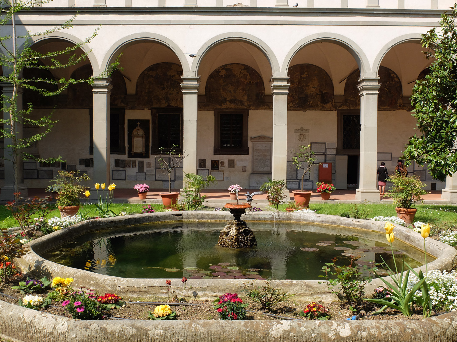 The cloister is complete with a charming fountain and lily pads!