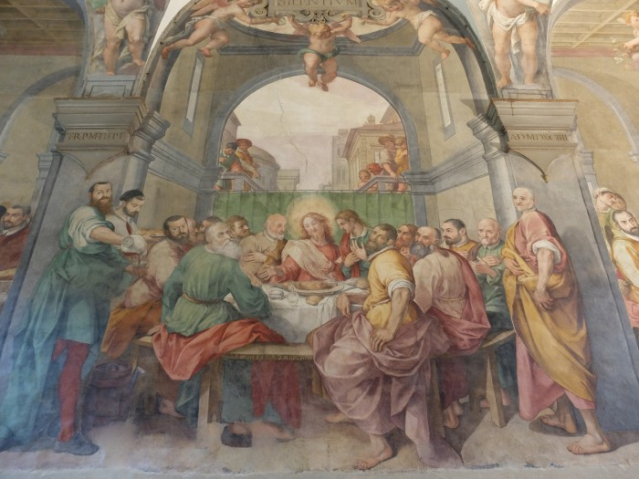 Detail of the central part of the fresco with the Last Supper