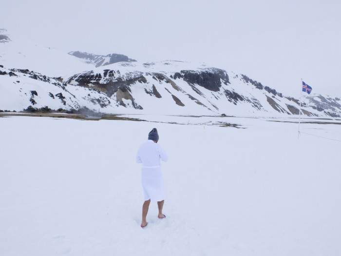 Someone might have told him that you can't wear spa slippers in deep snow