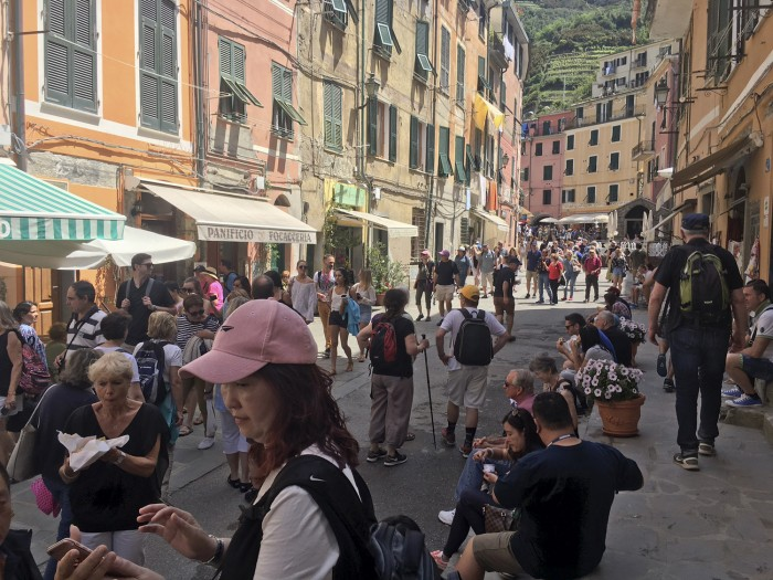 This is near Vernazza harbour at noon on a Monday in May!